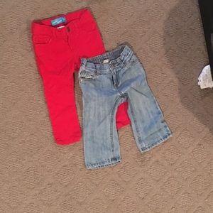 18M Old Navy Red/Denim Jeans Bundle
